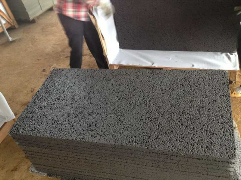 black lava rock packing